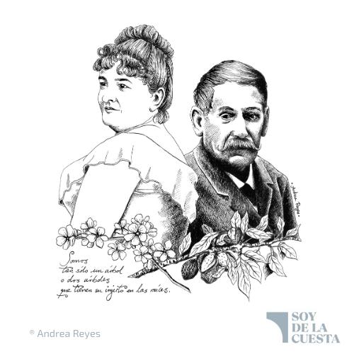 Dibujo de Emilia Pardo Bazán y Benito Pérez Galdós