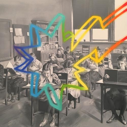 Cuadro de escuela infantil en blanco y negro